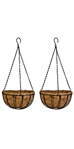Hanging Basket Planter Metal with Coco Coir Liner 8 Inch Wire Plant Holder with Chain Porch Decor
