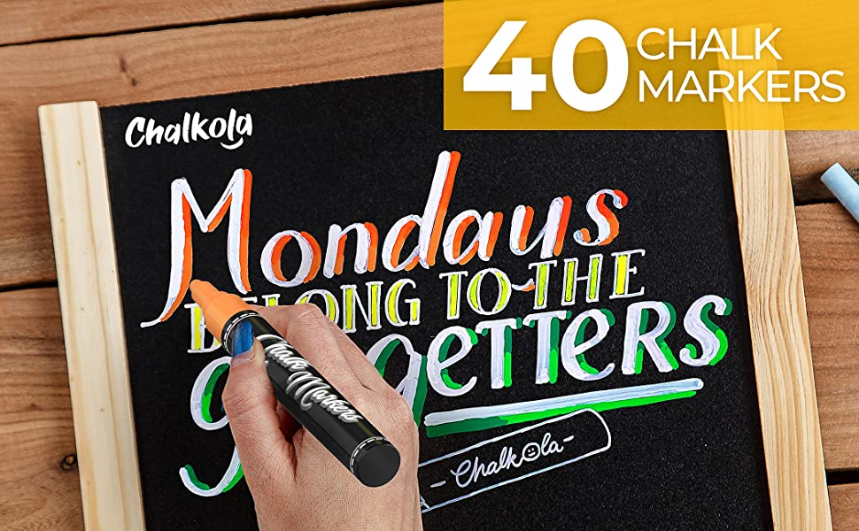 Chalkola Chalk Markers - Pack of 40 (Neon, Classic & Metallic) Chalk Pens
