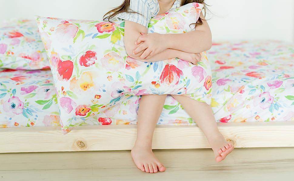 watercolor floral toddler pillowcase girls flower