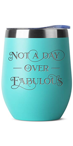 Not A Day Over Fabulous Birthday Gifts for Women Men - Engraved Mint 12 oz Insulated Stainless