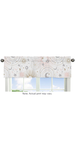 Blush Pink, Gold, Grey and White Star and Moon Window Treatment Valance for Celestial Collection