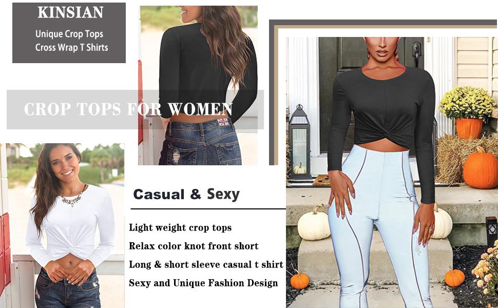 women's crop tops short sleeve & long sleeve tops