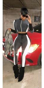 stripe crop sweatsuit for women