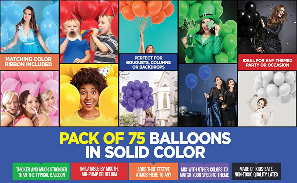 color themed party balloons