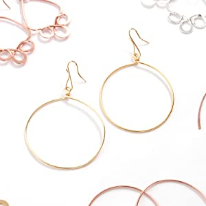 Humble Chic Circle Dangle Earrings - Hypoallergenic Geometric Thin Round Drop Hoops for Women