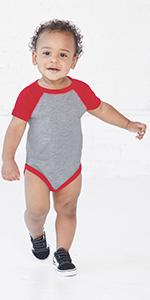 infant baby raglan baseball onesie bodysuit