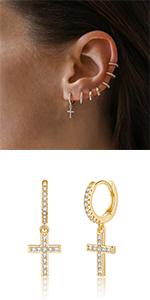 Cross Huggie Hoop Earrings