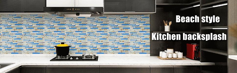 glass backsplash tile blue color art mosaic beach style tile walls