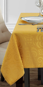 Ironworks Scroll Damask Table Cloth Heavyweight Fabric Waterproof Dust-Proof Table Cover for Kitchen