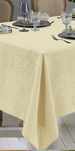 Deluxe leaf damask tablecloth waterproof elegant table cover for thanksgiving fall party dining