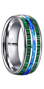 blue opal tungsten ring