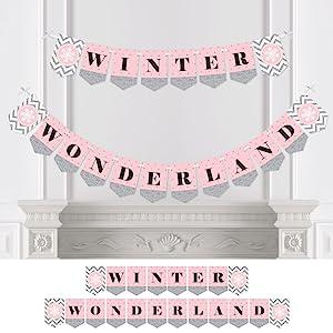 Pink Winter Wonderland Bunting Banner