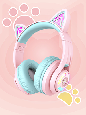 kids headphones with microphone wireless bluetooth headphones for kids cat ear led light up girls