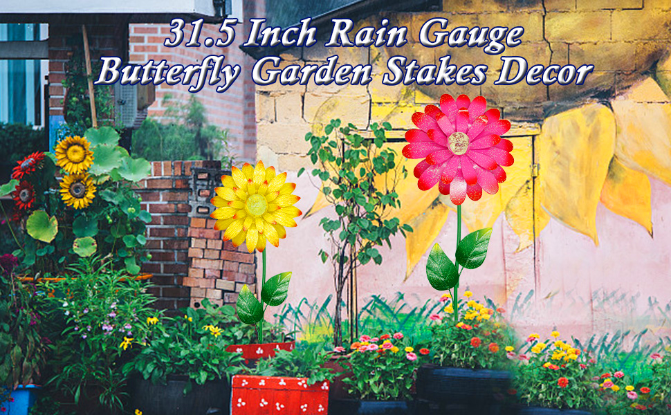 metal outdoor flowers garden stakes decor