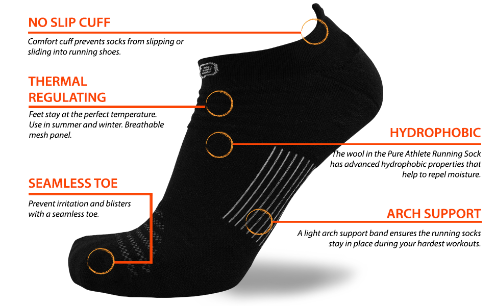 pure athlete wool socks features