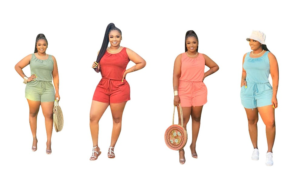Women Summer Jumpsuit Casual Loose Sleeveless Jumpsuit round neck rompers with pockets elastic waist