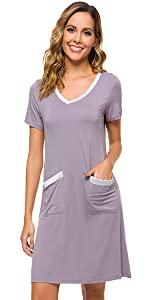 Womens Nightgowns Soft Bamboo Short Sleeve Sleepwear