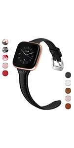 slim leather black band for fitbit versa