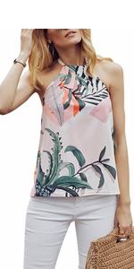 Sleeveless Floral Print Cami Tank Tops