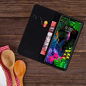 LG G8 ThinQ 'Classic Series' real leather wallet case cover open on table