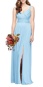 Sweetheart Tank Pleated Long Bridesmaid Dress for Women Maxi Prom Gowns