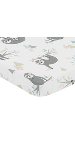Jungle Sloth Leaf Baby Nursery Fitted Mini Portable Crib Sheet For Mini Crib or Pack and Play
