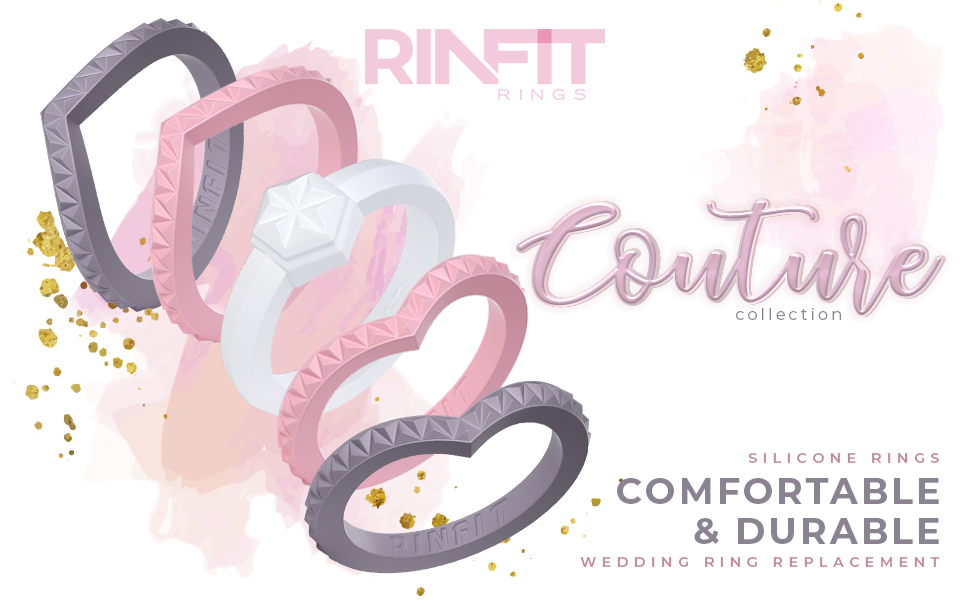 Rinfit Silicone Wedding Ring for Women - Couture Metallic Collection Women's Soft & Comfortable