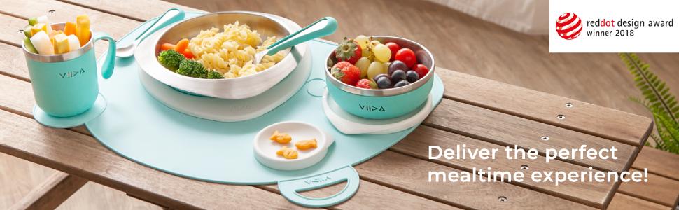 VIIDA, red dot design award, kids eating set, kids tableware set, stainless tableware, dining set