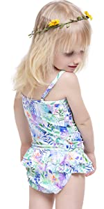Baby girls swimsuit Cute florals print one piece