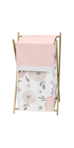 Blush Pink, Grey and White Baby Kid Clothes Laundry Hamper for Watercolor Floral Collection