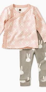 Tea Collection Wrap Top Baby Outfit, Soft Geo, Multiple