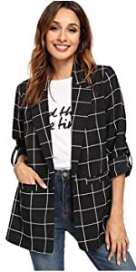Women's Plaid Roll Up Sleeve Lightweight Blazer Shirt