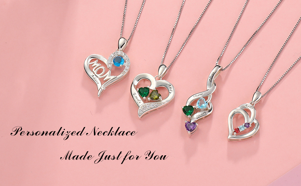 personalized birthstone necklace for mother couple
