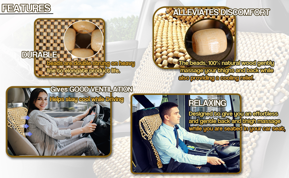 natural wood bead seat cover 2 pack