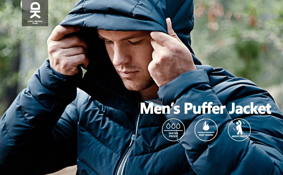 mens waterproof puffer jacket with hood