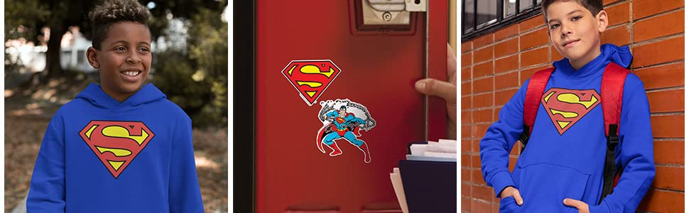 Popfunk Superman Shield Logo Kids Youth Pullover Hoodie & Stickers