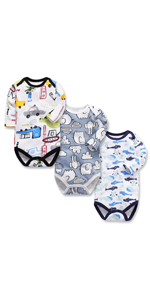 Newborn Unisex Baby Long Sleeve Bodysuit Thick Cotton Boys Girls Onsies 3 Pack