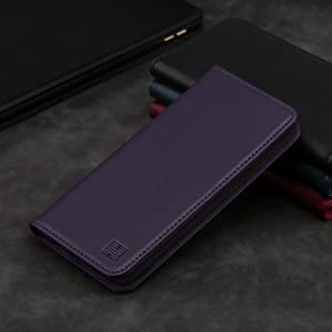 LG G8 ThinQ 'Classic Series' real leather wallet case cover available in Aubergine