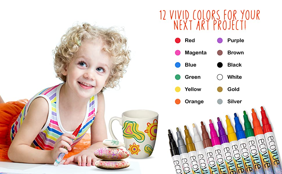 paint markers kid-friendly painting Japan tips variety rocks glass ceramic wood Ecovue paint pens