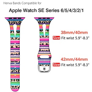apple watch band se series 6 5 4 3 2 1 iwatch strap printed leopard women girls