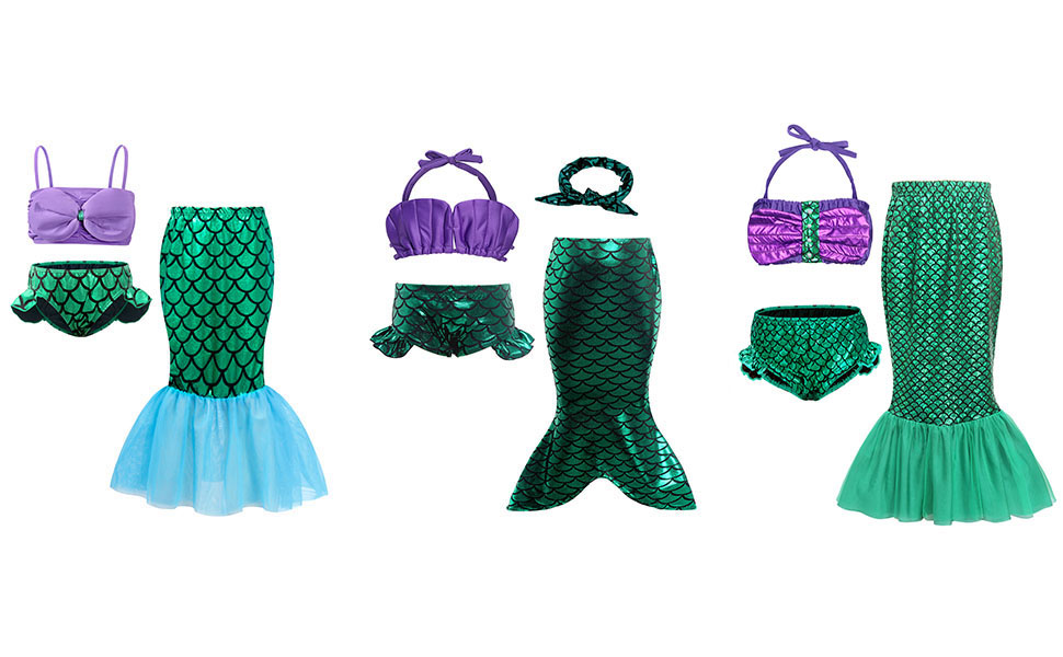 mermaid dress up costume swimsuits bathing suits clothes set outfits all-2