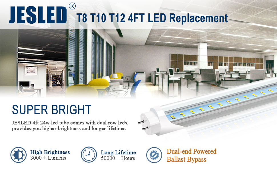 T8 T10 T12 4ft led fluorescent tube light bulbs replacement 5000k dual end powered ballast bypass