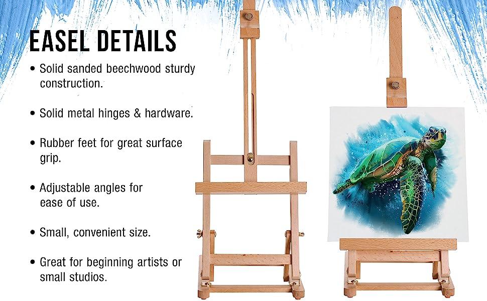US Art Supply Small Tabletop Studio H-Frame Easel