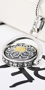 silver gold rotation pendant