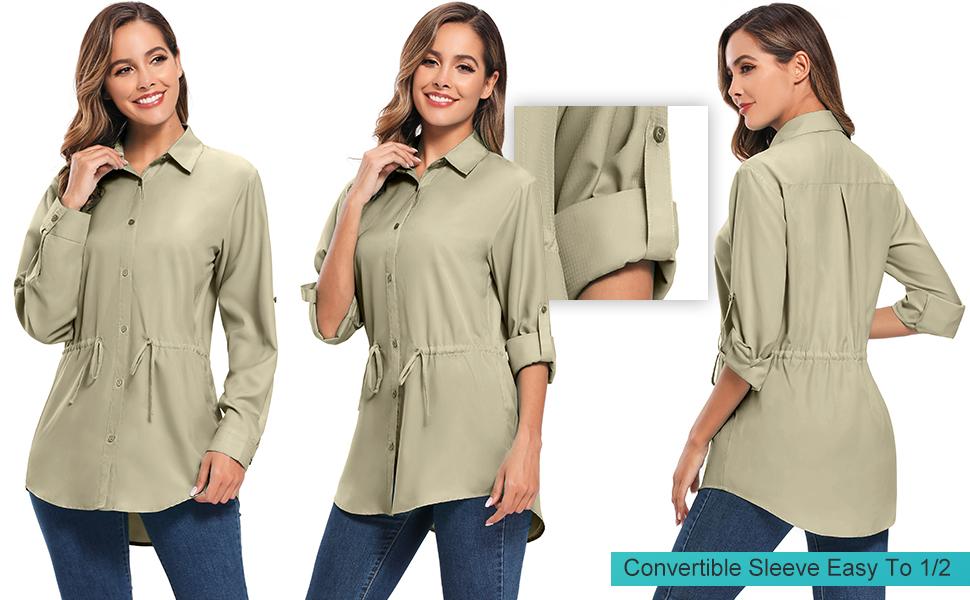 Women's PFG Long Sleeve Hiking Shirt, UPF 50+ Moisture Wicking UV Sun Protection Safari Shirts
