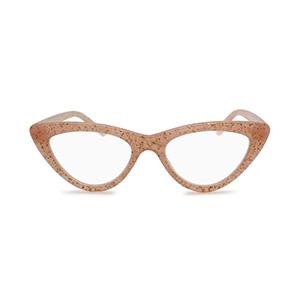 trendy glitter cat eye reading glasses for women blush pink color