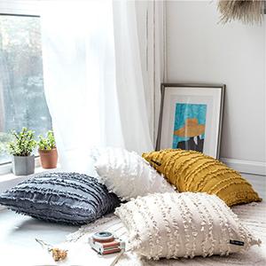 design cushion accessories tassel fringe 2 pack lumbar pillow cushion cover blue decor decorative