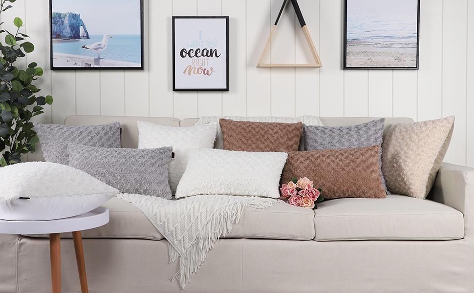 Mandioo Luxury Soft Plush Faux Fur Throw Pillow Covers-2