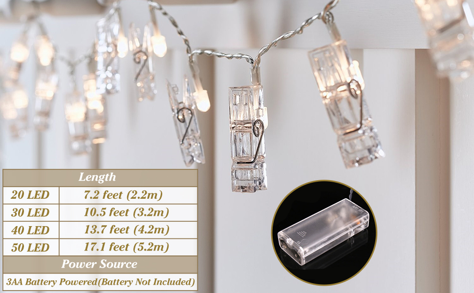 20 Photo Clips String Lights Battery Operated Fairy String Lights with Clips for Hanging Pictures