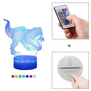 You can control this dinosaur lamp via smart touch or remote control
